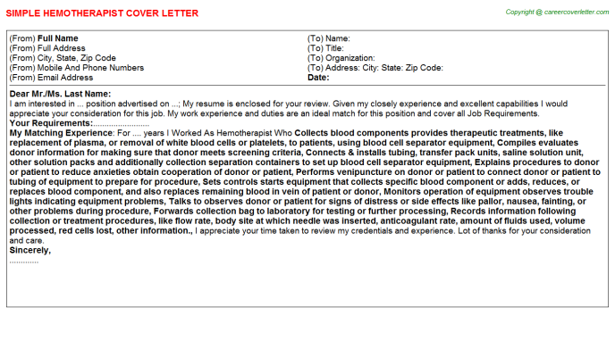 Hemotherapist Job Cover Letter Template