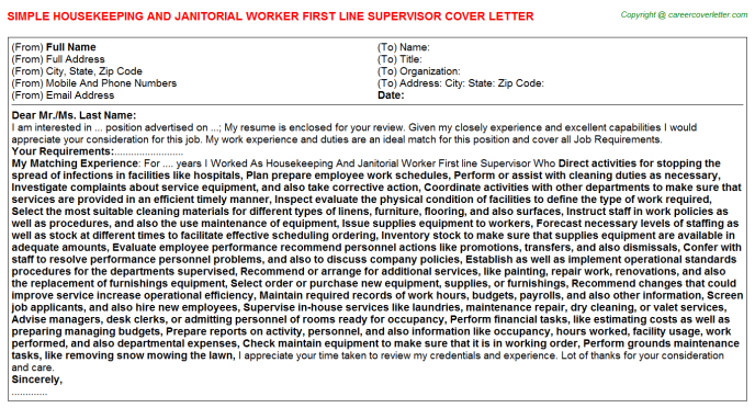 Housekeeping And Janitorial Worker First line Supervisor Cover Letter Template