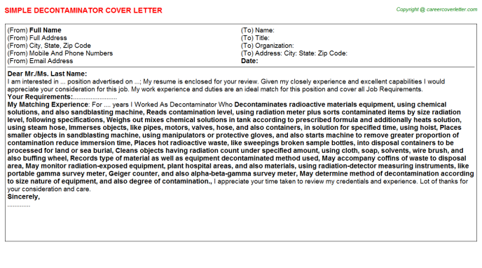 Decontaminator Cover Letter Template