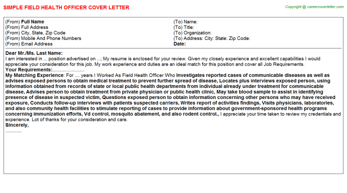 Field Health Officer Cover Letter