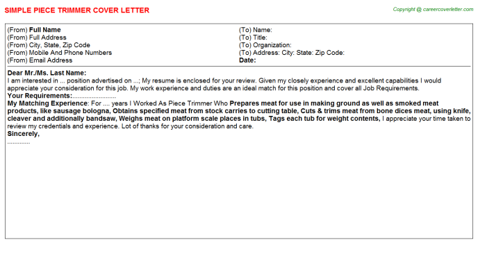 piece trimmer cover letter template