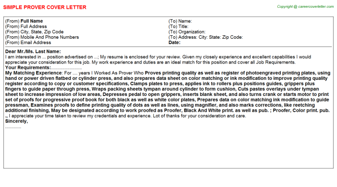 Prover Cover Letter Template