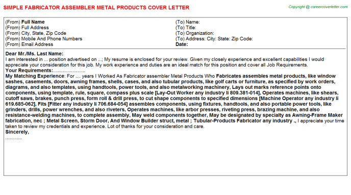 fabricator assembler metal products cover letter