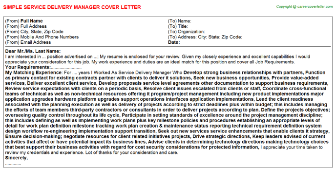 Service Delivery Manager Cover Letter Template