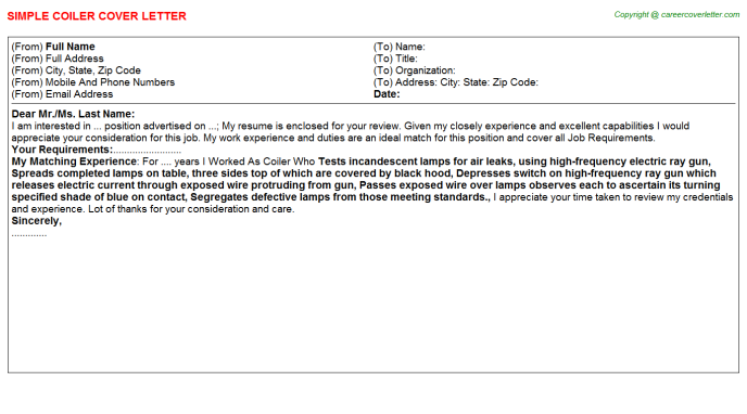 Coiler Cover Letter Template