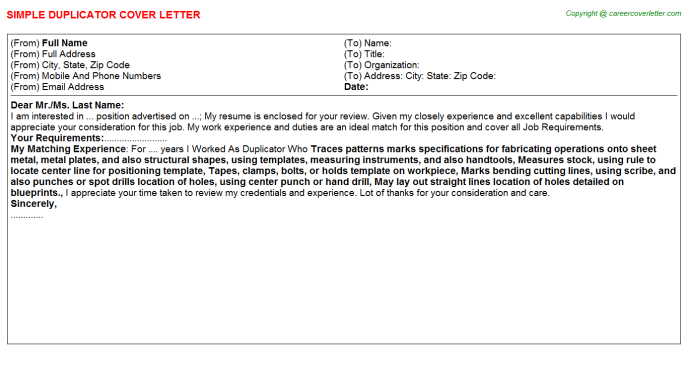 Duplicator Cover Letter Template