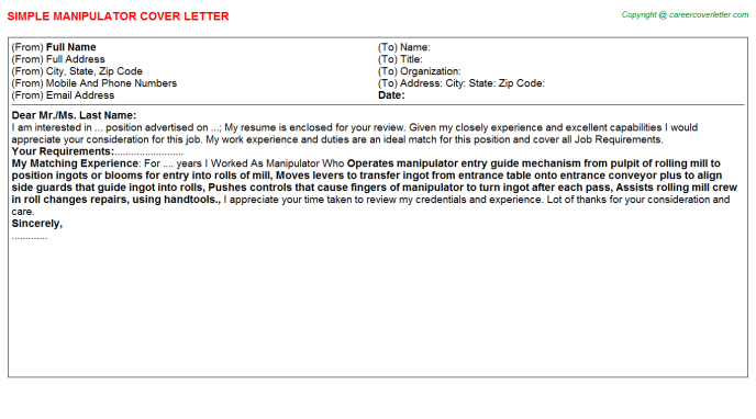Manipulator Job Cover Letter Template