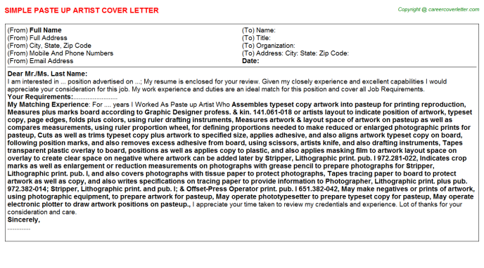 paste up artist cover letter template
