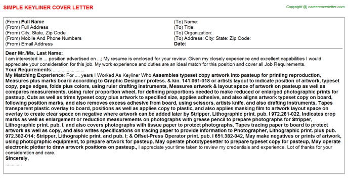 Keyliner Cover Letter Template