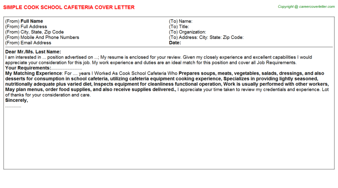 Cook School Cafeteria Job Cover Letter Example