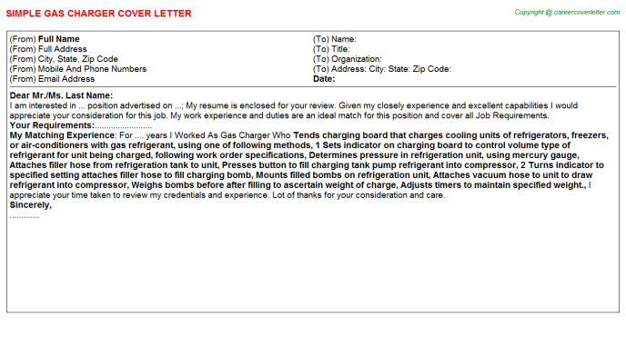 Gas Charger Cover Letter Template