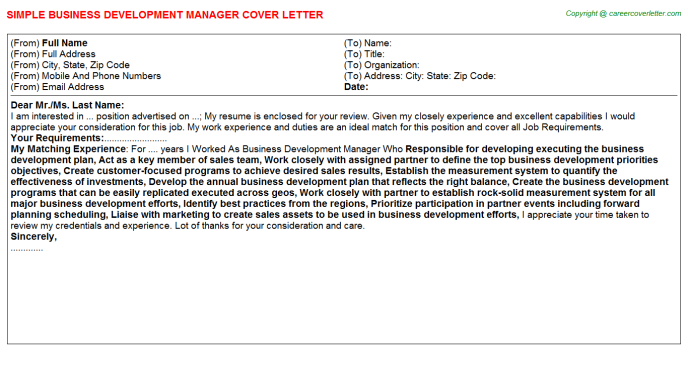 Business Development Manager Cover Letter Template