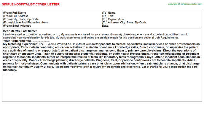 Hospitalist Job Cover Letter Template