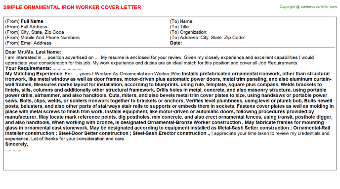 ornamental iron worker cover letter template