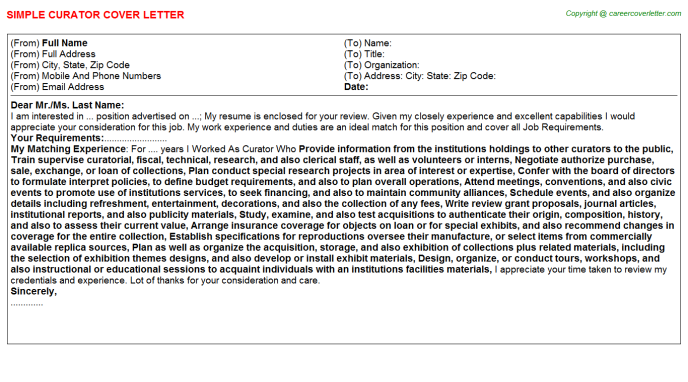 Curator Cover Letter Template