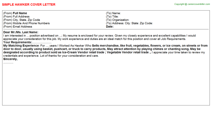 Hawker Job Cover Letter Template