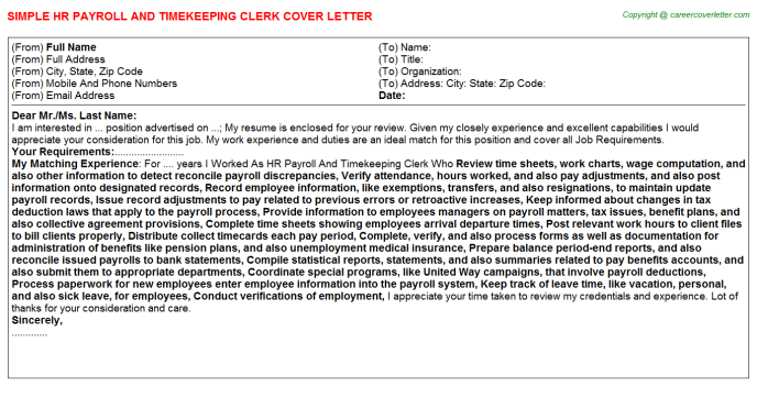 HR Payroll And Timekeeping Clerk Job Cover Letter