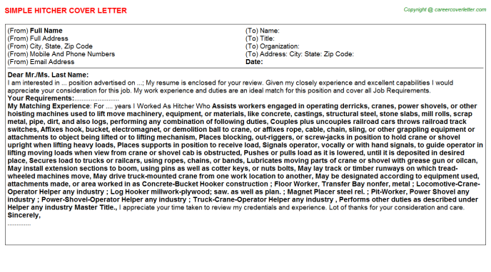 Hitcher Job Cover Letter Template