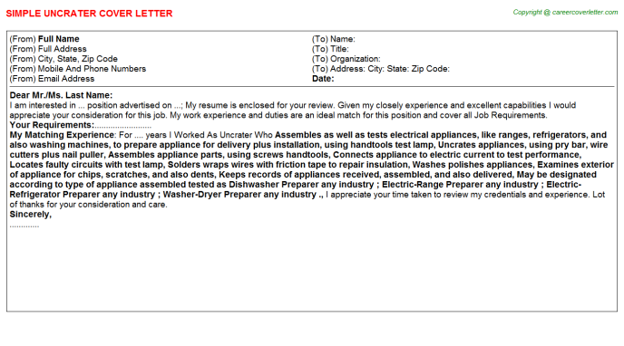 Uncrater Cover Letter Template
