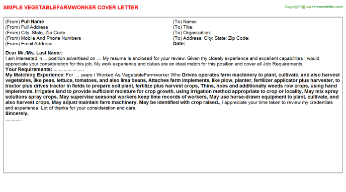 Vegetablefarmworker Cover Letter Template
