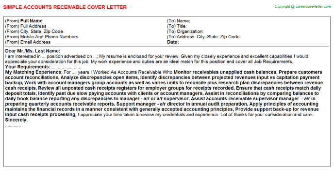 Accounts Receivable Job Cover Letter Template