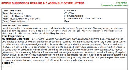 Supervisor Hearing aid Assembly Job Cover Letter Template