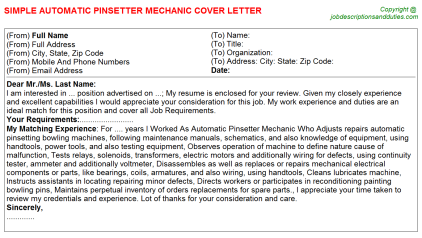 Automatic Pinsetter Mechanic Job Cover Letter Template