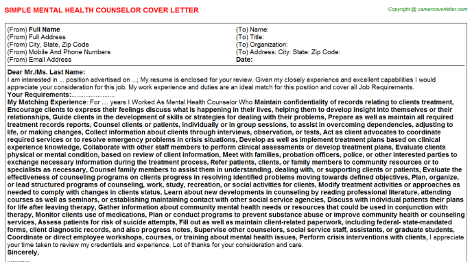 Mental Health Counselor Cover Letter Template