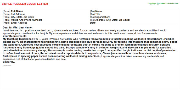 Puddler Cover Letter Template