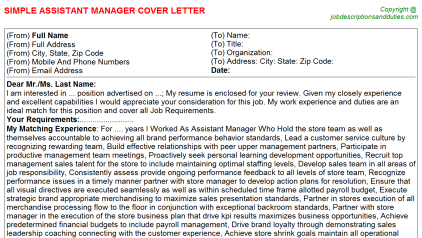 Assistant Manager Job Cover Letter Template