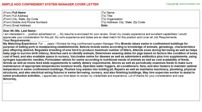 hog confinement system manager cover letter template