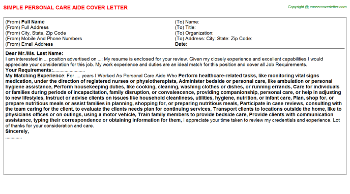 Personal Care Aide Job Cover Letter Template