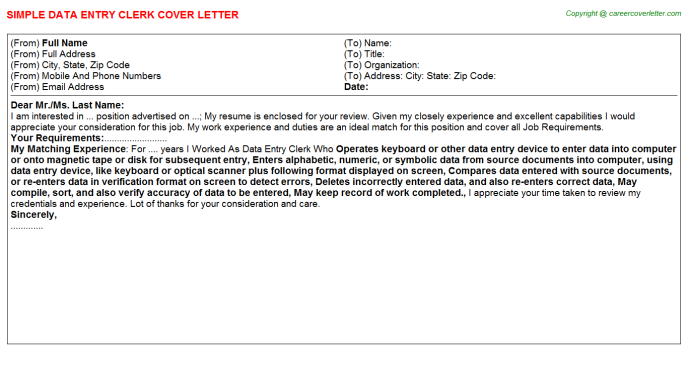 Data Entry Clerk Cover Letter Template