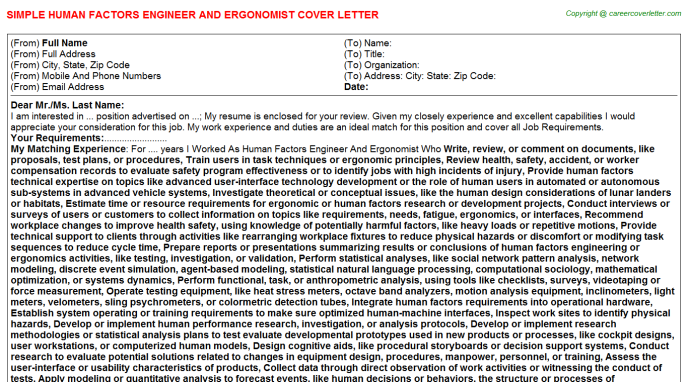 Human Factors Engineer And Ergonomist Cover Letter Template