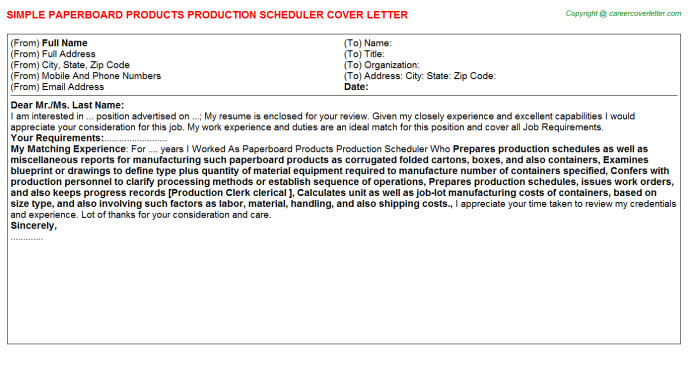 paperboard products production scheduler cover letter template