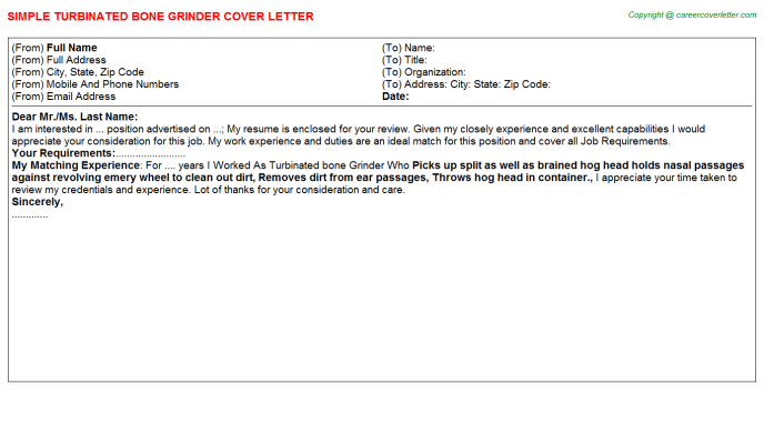 turbinated bone grinder cover letter template