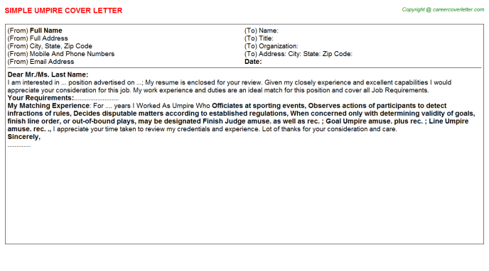 Umpire Cover Letter Template