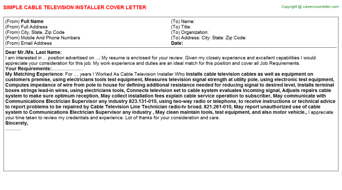 Cable Television Installer Job Cover Letter | Job Cover Letters