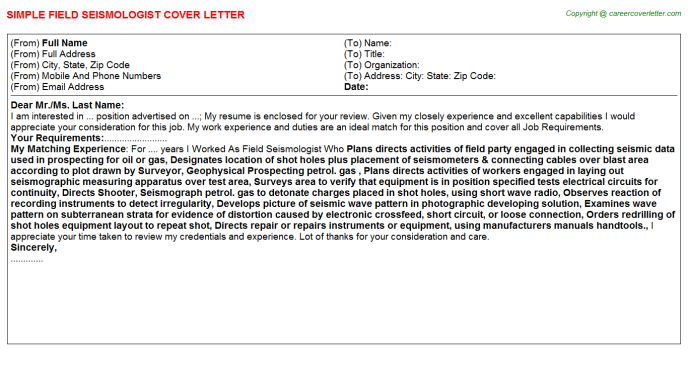 Field Seismologist Cover Letter Template