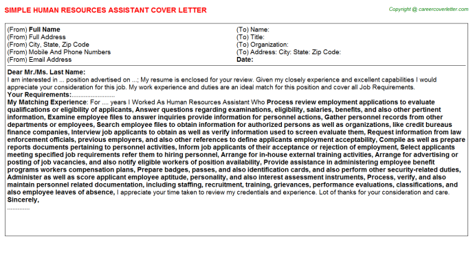human resources assistant job cover letters examples