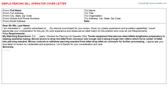 Piercing mill Operator Cover Letter Template