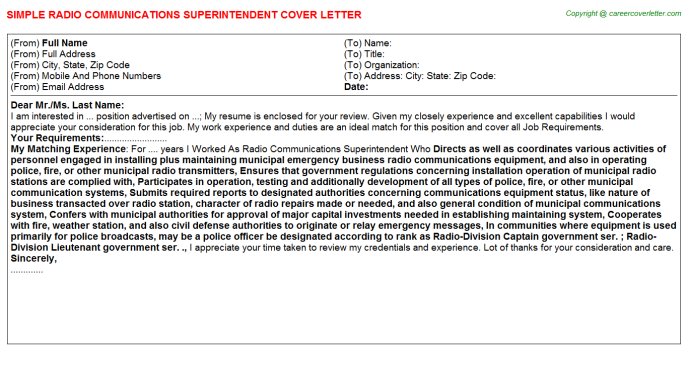 Radio Communications Superintendent Cover Letter Template