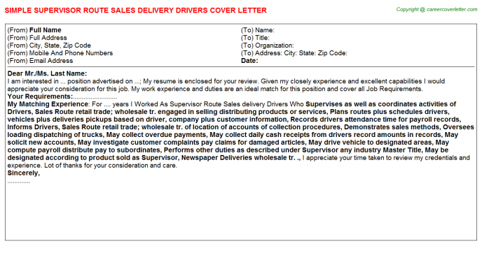 Supervisor Route Sales Delivery Drivers Job Cover Letter