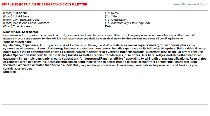 Electrician Underground Job Cover Letter Template