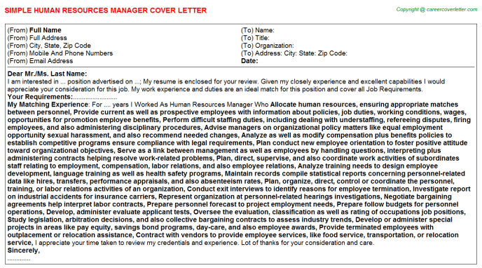 Human Resources Manager Cover Letter Template