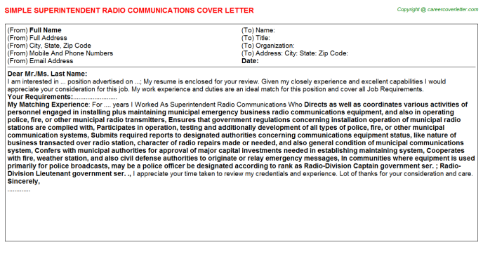 Superintendent Radio Communications Cover Letter Template