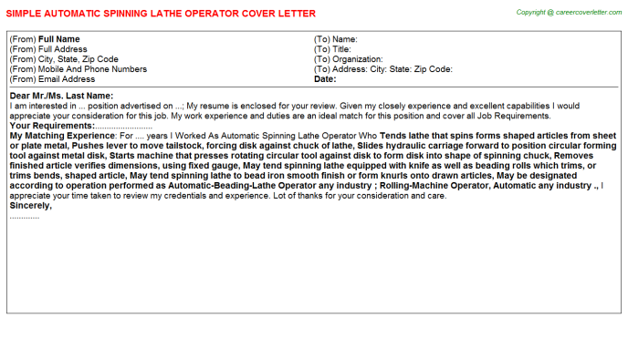 Automatic Spinning Lathe Operator Job Cover Letter Template