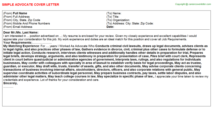 Advocate Job Cover Letter