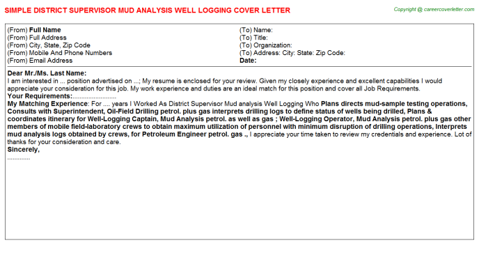 District Supervisor Mud Analysis Well Logging Cover Letter Sample ...