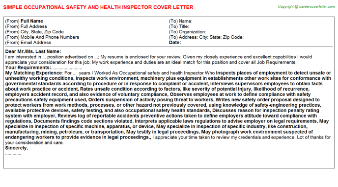 Occupational Safety And Health Inspector Job Cover Letter